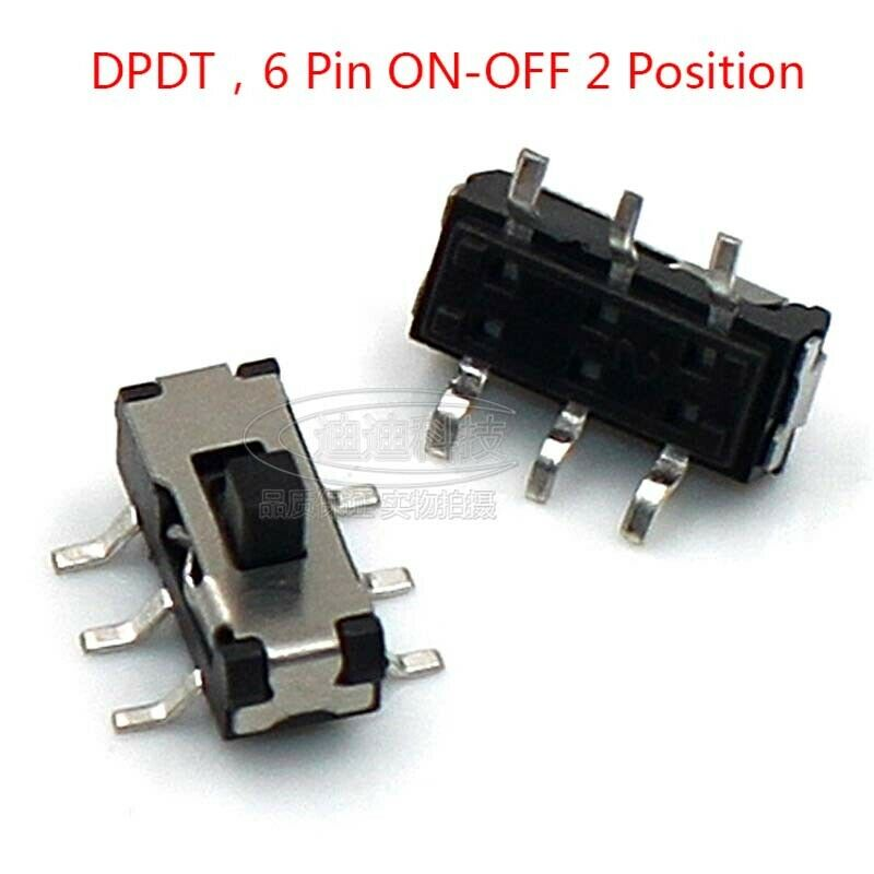 Micro Slide Switch DPDT 2P2T 6 Pin ON-OFF 2 Position DVD Panel Mount SMD Switch