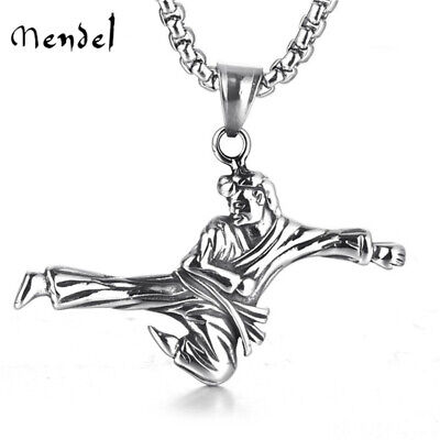 MENDEL Mens Taekwondo Pendant Necklace Stainless Steel Karate Gift for Teens - Necklaces For Boys