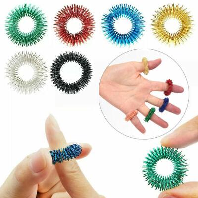 6PCS Spiky Sensory Finger Acupressure Ring Fidget Toy For Kids Adults Silent UK