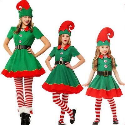 Damen Mädchen Weihnachten Kostüm Elfenkostüm Weihnachtself Karneval Party (Karneval Damen Kostüm)