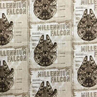 100% Cotton Fabric Camelot Star Wars Millennium Falcon Blueprint Han Solo