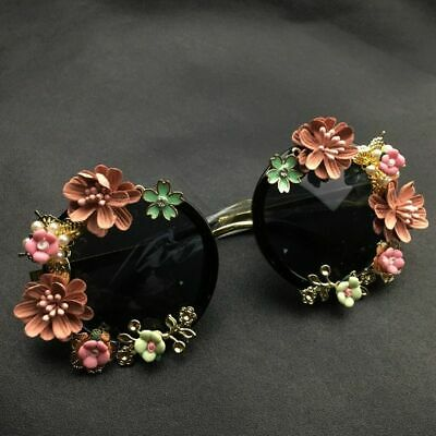 Women Baroque Flowers Sunglasses Vintage Metal Flower Round Beach Eye (Round Sunglasses With Flowers)