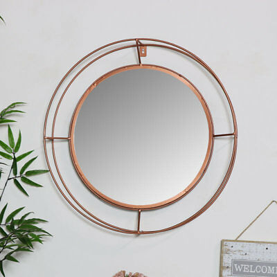 Large round metal copper colour framed wall mirror vintage retro chic (Round Copper Framed Mirror)