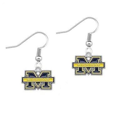Michigan Wolverines Dangle Earrings NCAA Fashion Jewelry Enamel