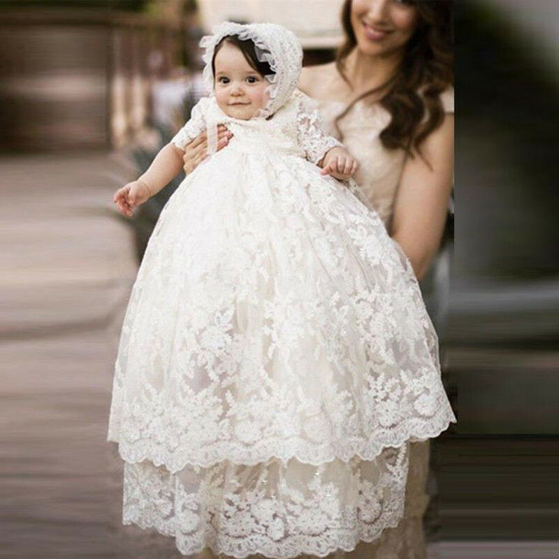2b3783899 Details about Vintage White Ivory Baby Girls Boys Christening Gown Lace  Baptism Dress Toddler