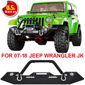 Front Bumper For 2007-2018 Jeep Wrangler JK Winch Plate & Built-In Led Lights V7