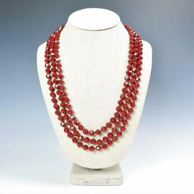 Sparkling Faceted Ruby Red Crystals Bead Knotted 72