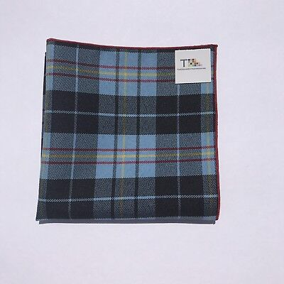 Blue Red And Yellow Plaid Pocket Square with Red Trim