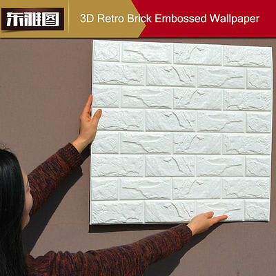 100 roll 3D Flexible Stone Brick Wall Textured Vinyl Wallpaper Self-adhesive