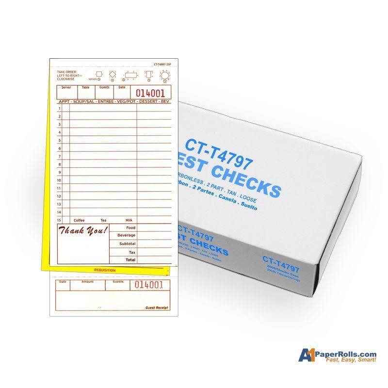 Case of  2,000 A1T4997-3 Tan 3 part Guest Checks
