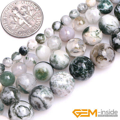 Green Tree Agate Beads - Natural Green Tree Moss Agate Gemstone Round Loose Beads For Jewelry Making 15