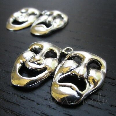 Comedy Tragedy Theater Mask Antique Silver Plated Pendants C5543 - 2, 5 Or -