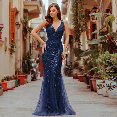 Ever-Pretty US Mermaid Wedding Dress Long Sequins Cocktail Prom Gown Navy Blue - Navy Blue Long Dress