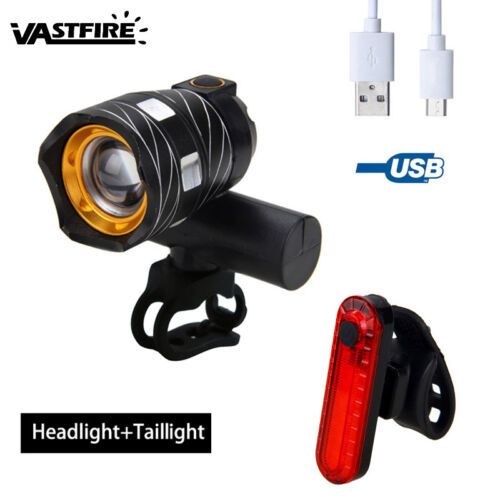 USB Rechargeable 15000LM XML T6 LED ZOOM Bike Bicycle Front Head Light Rear Lamp