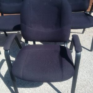 3 matching  sturdy black upholstered metal framed chairs