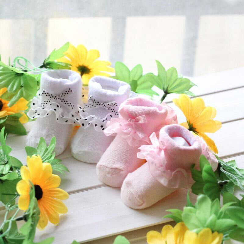 0-6M Newborn Baby Girl Toddler Lovely Lace Ruffle Frilly Cotton Ankle Socks