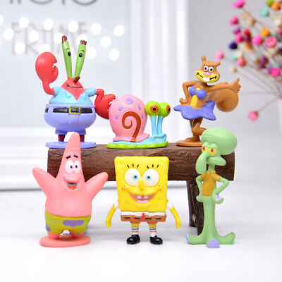 6pcs Set SpongeBob Squarepants Figure Patrick Star Figurine Doll Toy Cake Topper - Spongebob Cake Toppers