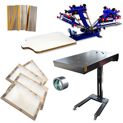 4 Color 1 Station Press Printer Dryer Printing Package Silk Screen Printing Kit