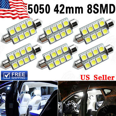 (6 X 42MM 5050 8SMD Festoon White 212-2 578 569 Dome Map License LED Light bulb)