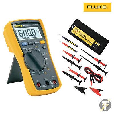 Fluke 117 True Rms Digital Multimeter Kiti Tlk-225 Accessory Set Probes Clips