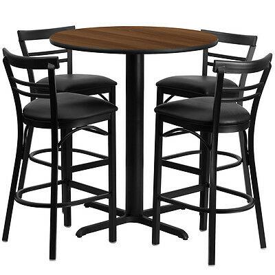 Restaurant Table Chairs 24 Walnut Laminate With 4 Ladder Metal Bar Stools