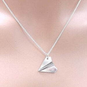 ONE DIRECTION Harry Styles PAPER AIRPLANE Silver Necklace Pendant Plane FH