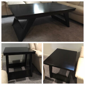 Wood coffee table and end tables set