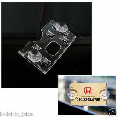 Business Card Holder Car - Clear Acrylic Horizontal Business Card Holder (rubber suction) for Universal Car
