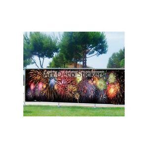 Brise vue imprim jardin terrasse balcon d co feux d 39 artifice 9140 ebay for Brise vue pour jardin