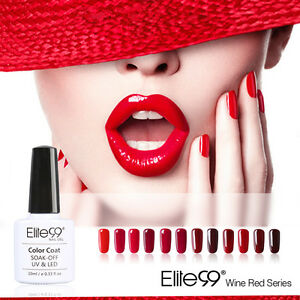 Elite99-Esmalte-de-Una-de-Gel-UV-Serie-de-Color-Rojo-Vino-Soak-off-Manicura-10ml