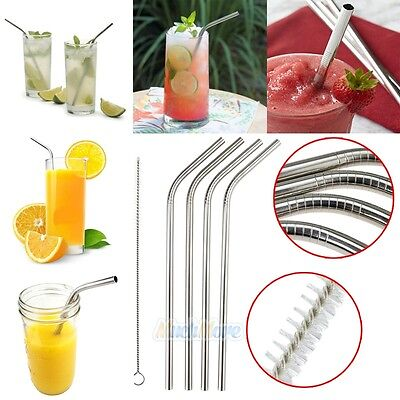 4x Stainless Steel Drinking Straw 1 Set With Cleaner Brush Reusable Washable NEW