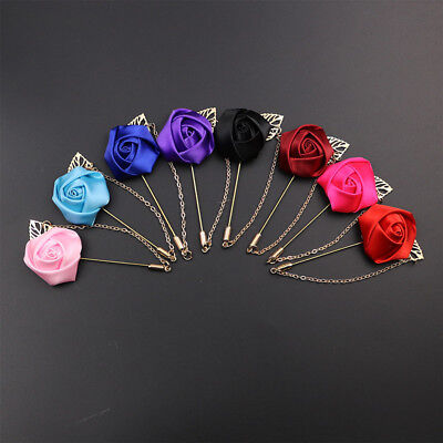 (Men's Gold leaves Handmade Fabric Rose Flower Brooch Pin With chain Wedding A309)
