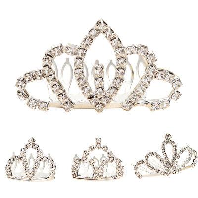 Children Girl Princess Crown Comb Tiara Heart-shaped Rhinestone Hair Clip Cheap - Cheap Tiaras