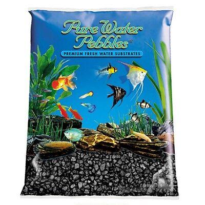 Pure Water Pebbles Aquarium Gravel Color Jet Black 25 lbs(Grain Size 3.1-6.3 mm)