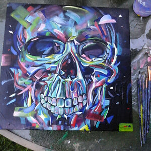 Neon Skull Canvas painting - art for sale !