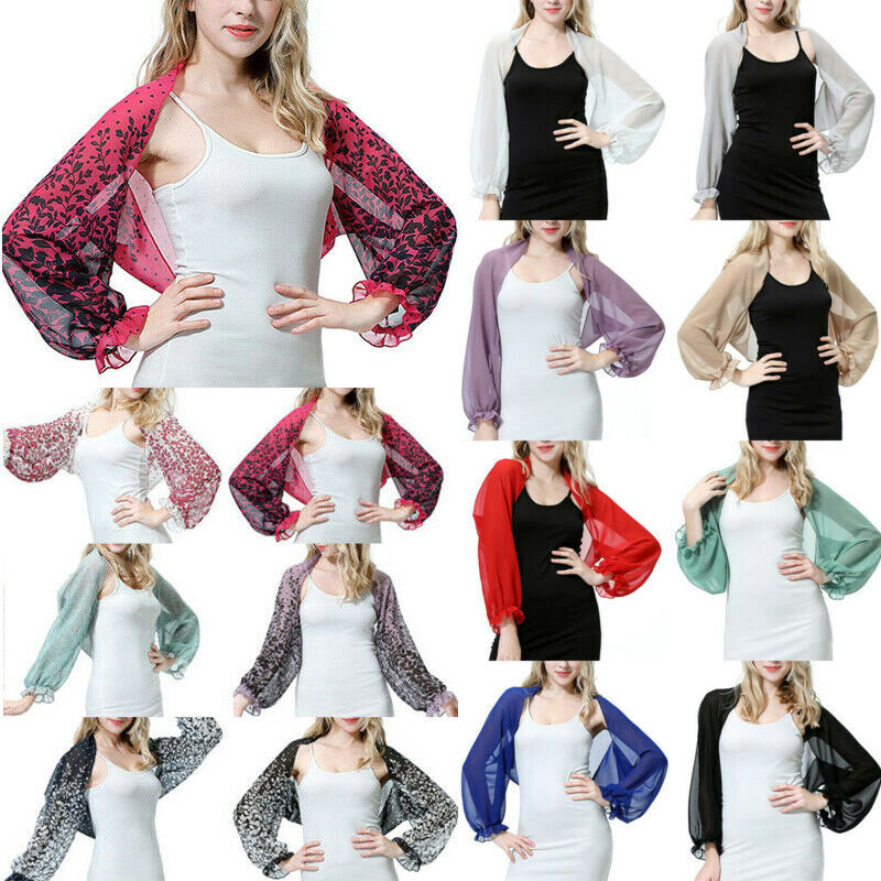 Women Puff Sleeve Chiffon Shawl Cape Cardigan Summer Beach Arm Cover Crop Tops Clothing, Shoes & Accessories