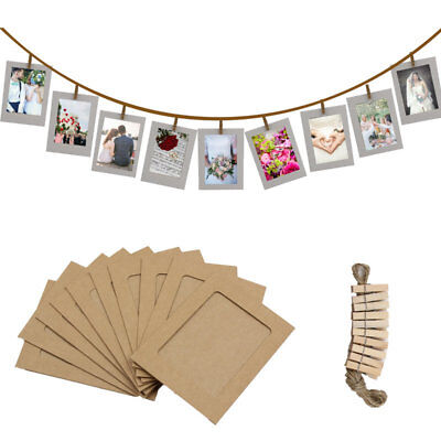 Photo Frame DIY Wooden Paper Picture Wedding Shower Birthday Party Props 10PC