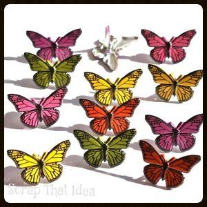 Butterfly BRADS. 12pcs. REALISTIC.  Scrapbooking / Craft. Garden, Spring, Nature