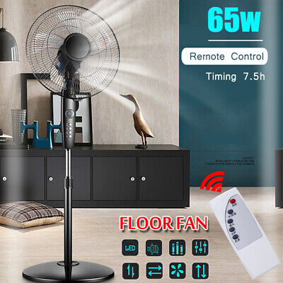 16'' Telescopic Oscillating Pedestal Fan Stand Floor 3 Speed W/ Remote Control (220 Volts Stand Fans)