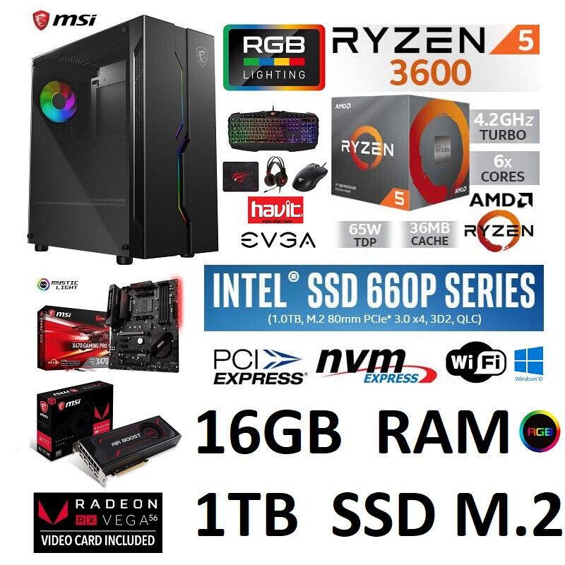 MSI GAMING PC RYZEN 5 3600 RX VEGA 56 16GB RAM 1TB SSD Windows 10 PRO | in  Wath-upon-Dearne, South Yorkshire | Gumtree