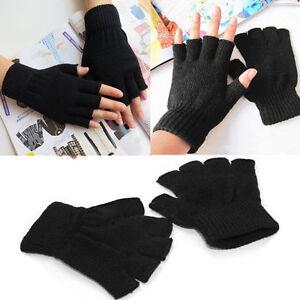 New Men Ladies Boys Women Black Half Finger Magic Grip Gripper Thermal Gloves