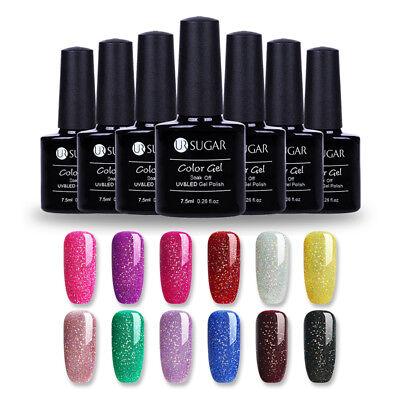 (7.5ml UR SUGAR Rainbow UV Gel Nail Polish Soak Off Holographic Shimmer Gel Nails)