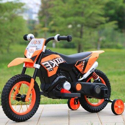 MOTO ELETTRICA PER BAMBINI MOTO CROSS RUOTE GONFIABILI 6V ARANCIO CON LUCI E MP3