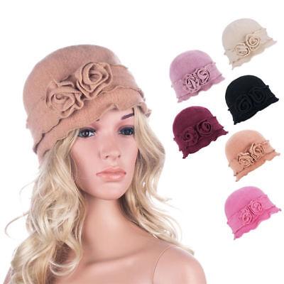 Women Gatsby 1920s Winter Wool Casual Beanie Crochet Bucket Flower Hat A285