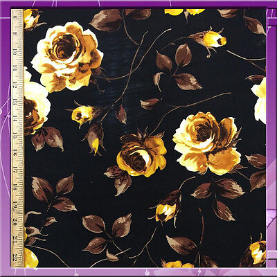 "100% RAYON CHALLIS FLOWER / FLORAL GOLD WITH BLACK BACKGROUND 58"" W FABRIC BTY"