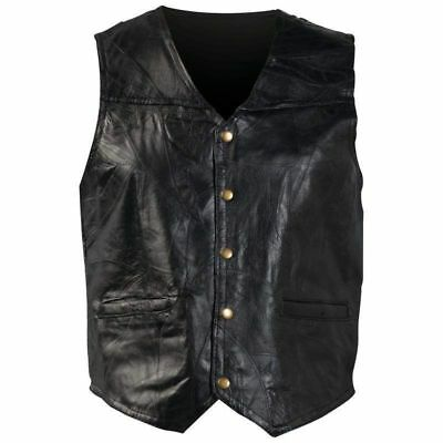 New Mens Genuine Leather Motorcycle Biker Vest Lg XL 2X 3X Italian Stone Design  (New Mens Genuine Leather)