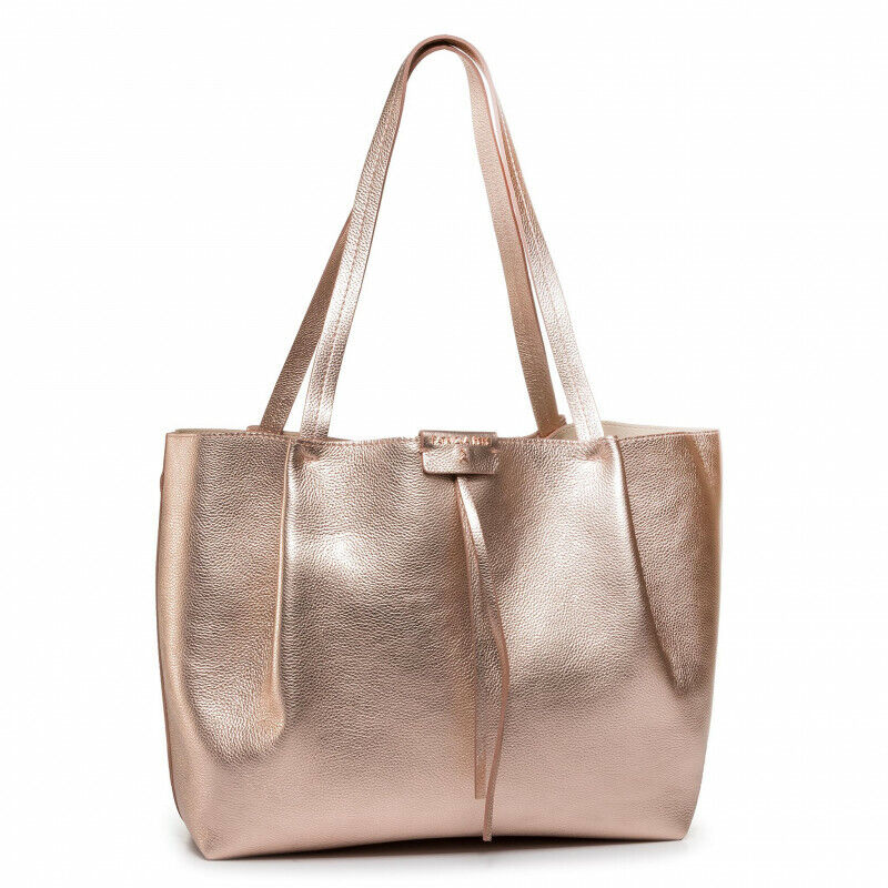 BORSA PATRIZIA PEPE DONNA 2V8896 A4U8S Y350 ORO ROSE SHOPPING BAG GOLD ORIGINALE