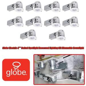 NEW Globe Electric 4 Swivel Spotlight Recessed Lighting Kit Dimmable Downlight, Contractors 20-Pack, White Finish,...