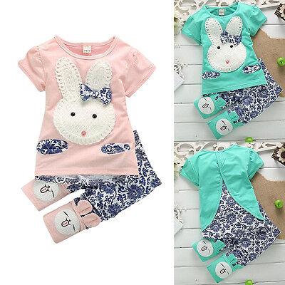 Kleinkind Kind Mädchen Kaninchen Top T-shirt +kurze Hose Set Kleidung Anzug 1-5Y
