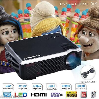 3500Lumens LED/LCD Beamer HD 1080P Heimkino Projektor 3D HDMI USB AV VGA 1000:1 online kaufen
